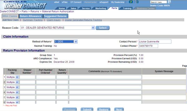 Chrysler Dealer Connect >> Mopar Parts Policies And Procedures Material Return Authorization